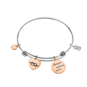 BANGLE EXT BR LPS HEART-SS+ROSE GOLD